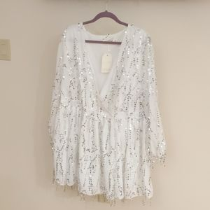Plus Size Size 20  white and sequined wrap dress